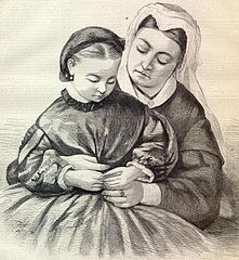 Queen Victoria holding Princess Beatrice