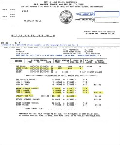 Long Beach water bill